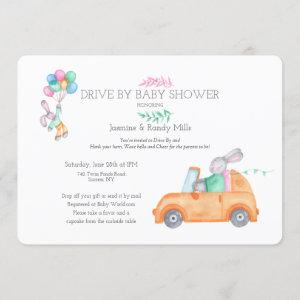 Bunny Drive By Baby Shower Invitation