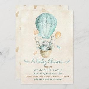Bunny in Teal Blue Hot Air Balloon Baby Shower Invitation