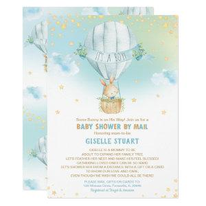 Bunny Rabbit Hot Air Balloon Baby Shower by Mail Invitation