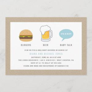 Burgers, Beer and Baby Talk Baby Shower Invitation