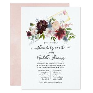Burgundy and Blush Floral Baby Shower by Mail Invitation