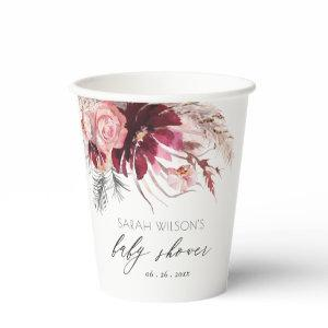 Burgundy Blush Floral Pampas Grass Baby Shower Paper Cups