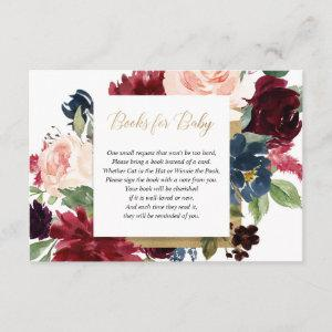 Burgundy blush gold girl baby shower book request enclosure card