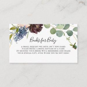 Burgundy Floral Greenery Baby Shower Book Request Enclosure Card