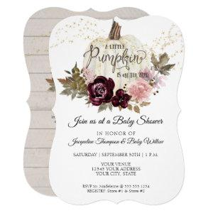 Burgundy Floral Watercolor Pumpkin Baby Shower Invitation