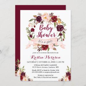 Burgundy Floral Wreath Blush Ribbon Baby Shower Invitation