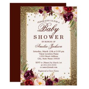 Burgundy Gold floral Sparkle Baby Shower Invitation