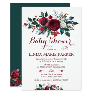 Burgundy pine green floral winter baby shower invitation