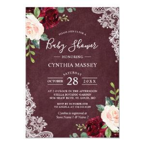Burgundy Red Blush Floral Lace Girl Baby Shower Invitation