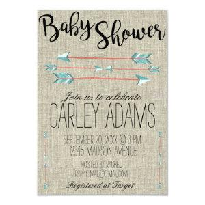 Burlap Adorned with Arrows | Baby Shower Invite