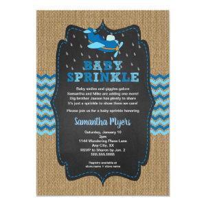 Burlap Airplanes Boy baby sprinkle invite