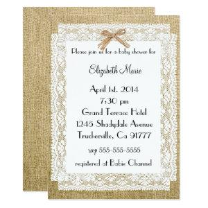 Burlap and Lace-Baby Shower Invitation