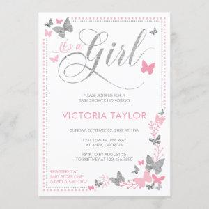 Butterfly Baby Shower Invitation, Pink, Silver Invitation