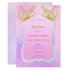 Butterfly Baby Shower Pink and Gold Butterfly Kiss Invitation