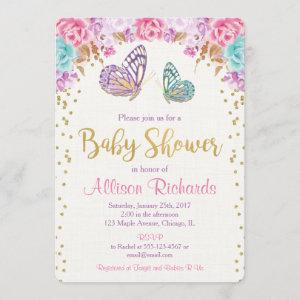 Butterfly baby shower, pink purple gold girl invitation