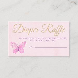 Butterfly Diaper Raffle Ticket for Baby Shower Enclosure Card