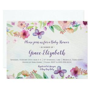 Butterfly Floral Watercolor Baby Shower Invitation