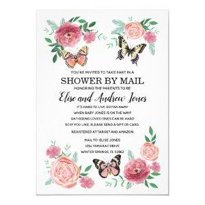 Butterfly Florals Shower by Mail Long Distance Invitation