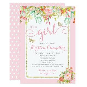 Butterfly Girl Floral Garden Polkadot Baby Shower Invitation