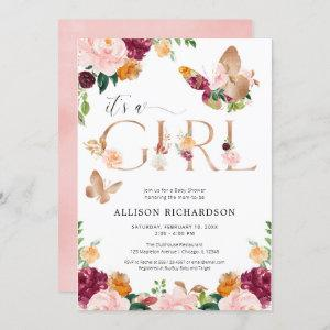 Butterfly It's a Girl rose gold pink floral baby Invitation
