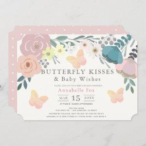 Butterfly Kisses Pink Floral Baby Shower Invitation