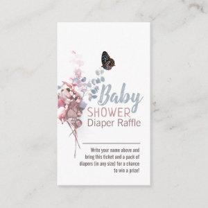 Butterfly Leaves Elegant Baby Shower Diaper Raffle Enclosure Card