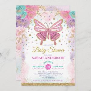 Butterfly Pink Purple Teal Rainbow Baby Shower