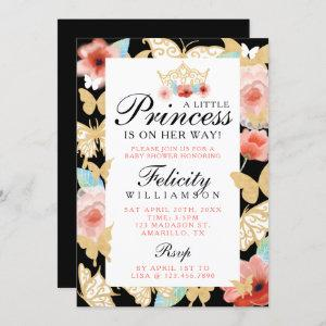 Butterfly Royal Floral Crown Black Gold Invitation