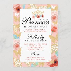 Butterfly Royal Floral Crown Pink Gold Invitation