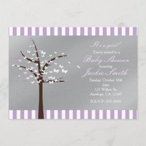 Butterfly Tree Lavender & Grey Shower Invitation