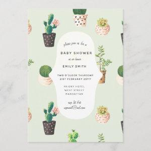 Cacti Baby Shower Invites Watercolor Succulents