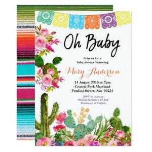 Cactus Fiesta Baby Shower Invitation