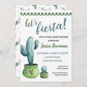 Cactus Fiesta Boy Baby Shower Invitation