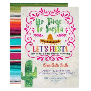 Cactus Mexican Baby shower Invitation Gold