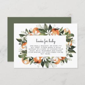 Calliope -Watercolor Oranges Books for Baby Insert Invitation