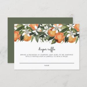 Calliope -Watercolor Oranges Diaper Raffle Ticket Invitation