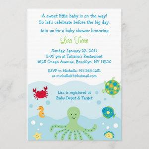 Calypso Sea Creature Ocean Baby Shower Invitations