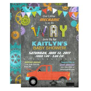 Car Mechanic Gears Tools Chalkboard Baby Shower Invitation