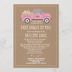 Cardstock Inspired Pink Truck Baby Shower By Mail Invitation