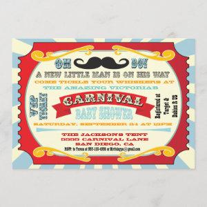 Carnival Mustache Baby shower Invitation