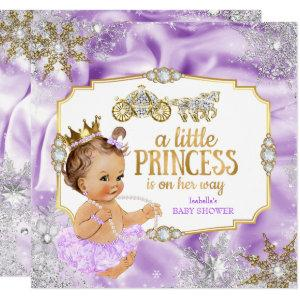 Carriage Princess Baby Shower Purple Brunette Invitation