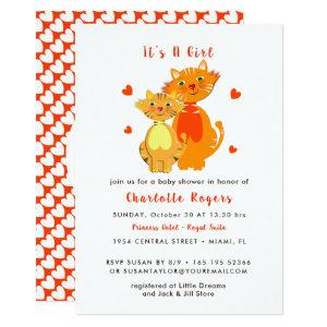 Cat and Kitten Super Cute Baby Shower Invite