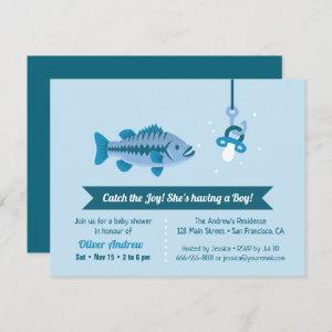 Catch the Joy Sea Bass Fishing Themed Baby Shower Invitation