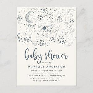 Celestial Starry Night Constellation Baby Shower Invitation Postcard