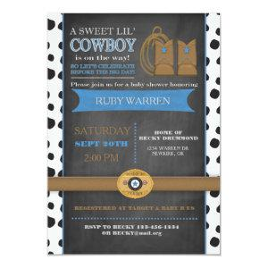 Chalk board Cowboy Baby Invitation
