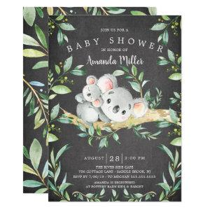 Chalkboard Adorable Koala Bear Baby Shower Invitation