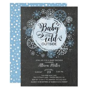 Chalkboard Blue Baby It's Cold Outside Invitation