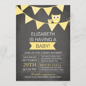 Chalkboard Bunting Owl Gender Neutral Baby Shower Invitation
