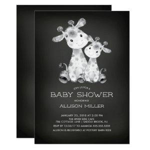 Chalkboard Giraffe Neutral Baby Shower Invitation