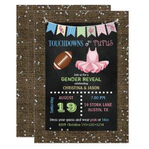 Chalkboard Touchdowns or Tutus Gender Reveal Invitation